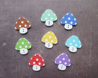 20 buttons wood form fall vegetable mushroom number 2