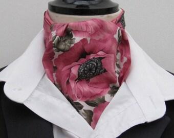 Mens Dusty Pink Poppy Design Cotton Lawn Ascot Cravat & Handkerchief