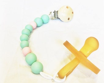 Silicone teething pacifier clip