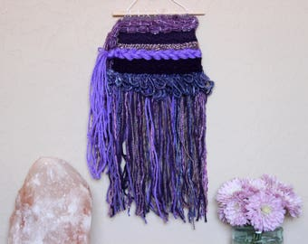 Purple Fringe Wall Hanging - Bright Color Bohemian Woven Wall Art - College Girl Dorm Room Decoration - Shades of Purple Handwoven Tapestry