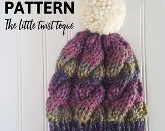 Knitting Pattern/Chunky knitting pattern/knit pattern/cable hat pattern/chunky cable hat pattern/The little twist toque