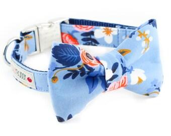 Les Fleurs Birch Floral Periwinkle Dog Bowtie Collar - Rifle Paper Co.