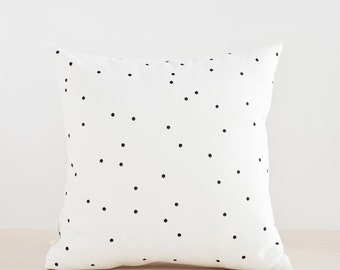 FREE SHIPPING, Black Dots Pillow Cover, Minimalist Pillow, Hand Painted Pillow, Decorative Cushion, Black and White Pillow Cover, 14x14