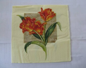 set of 2 Orange Tulip flower paper napkins