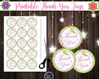 Tinkerbell Thank You Tags, Tinkerbell Fairy Party Favors, Fairy Party Favor, Printable Tinkerbell Theme, 1st Birthday, Neverland Printables