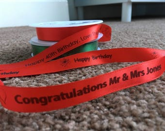 Personalised Ribbon 15mm - Various Colours