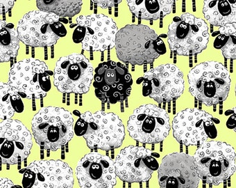 Susybee Allover Print Sheep Ewe Fabric- Lewe The Ewe- So Cute! Greenish Yellow Background
