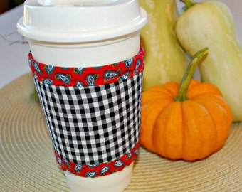 Gingham Coffee Cozy, Home Living Decor, Housewares Covers Cozies, Kitchen Dining, Drink Barware, Drinkware Cozies, Coffee Cup Sleeve