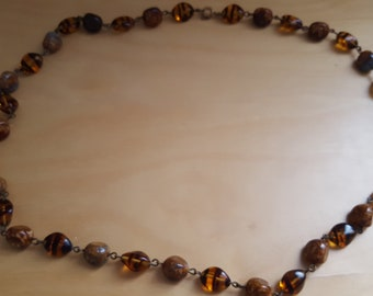 Agate and Tiger Eye glass bead necklace