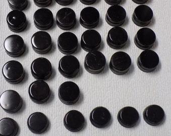 45 Assorted Black Metal Bottle Caps