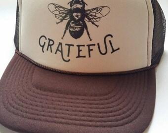 Bee Grateful/ Brown Trucker Hat/ Grateful/Inspirational Gift/ Bee keeping/Headwear/Yoga/ Grateful Dead/Sun Hat/Affirmation/Recovery/Festival
