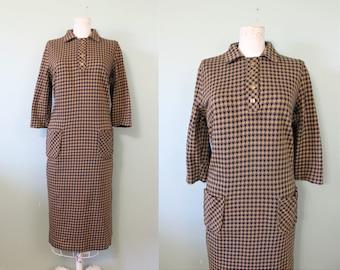 SALE | Harlequin knit dress | vintage 1950s knit sack dress