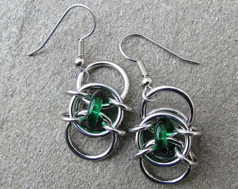 Green Earrings, Chain Maille Earrings, Glass Earrings, Emerald Green Glass Jewelry