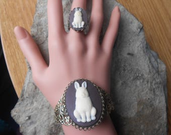 Bunny Rabbit Cameo Bronze Filigree Bracelet and Matching Ring - Great Quality - Unique - Bunny Lover Gift - Easter