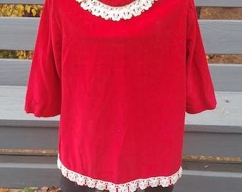 1960s girls dress//girls mod style red velvet dress//vintage 60s girls dress
