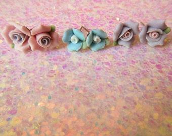 Vintage Porcelain Rose Studs