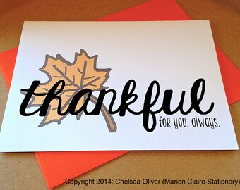 Thanksgiving Card - Thinking of You Card - Thankful for You
