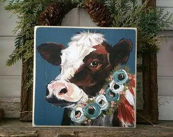 Cow print mounted on wood - print of original painting - Large