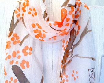 Hand Painted Silk Scarf, Summer Scarf, Orange Scarf, Japanese Plum Blossom Scarf, Silk Chiffon Scarf, 7.5x52 inches. Made to order.