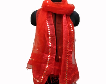 Embroidered scarf/ red scarf/ sequin  scarf/ light weight scarf/ fashion  scarf/ gift scarf / gift ideas.