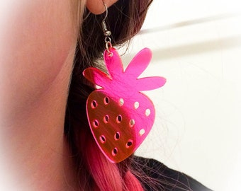 Florescent Pink Strawberry Earrings