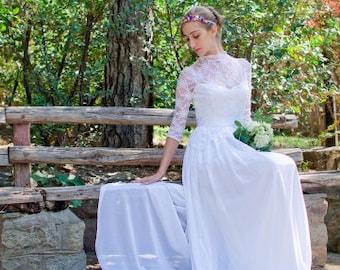 Sale Long Wedding Dress White Bridal Dress Lace Ciffon Wedding Gown  Sleeves Bohemian Gown Unique  Βοhο Wedding Dress Handmade Wedding Dress