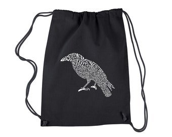 Drawstring Backpack - Created Using the First Few Lines from Edgar Allen Poe's The Raven