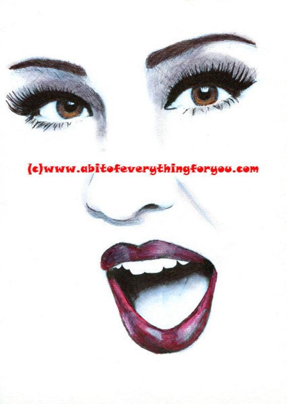 ORIGINAL ART DRAWING womans brown eyes red lips red lipstick long lashes open mouth makeup beauty art original artwork