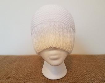 White beanie hat, Size small/medium