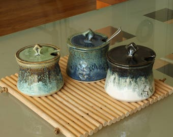 Ceramic sugar jar or bowl with brown and green glazes /  blue and green glazes /  white and black glazes handmade by Jason Hooper Pottery