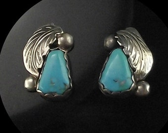 Navajo Turquoise and Sterling Leaf Earrings