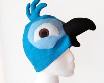 Boy Blue Macaw Hat. Parrot, Tropical Bird.