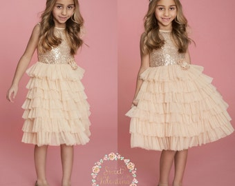 Gold sequin Flower girl dress, Ivory and gold dress, Flower girl dresses, Birthday dress, Rustic Flower girl dress, Gold Tulle dress