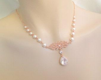 rose gold ivory swarovski pearl and crystal necklace Statement Bridal necklace Wedding pearl Rhinestone necklace cubic zirconia ADINA