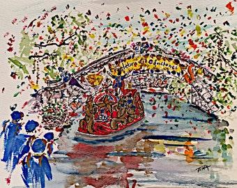 King Antonio, River Parade, original watercolor painting
