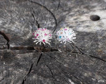 925 Sterling Silver and Cristals Fireworks Ring Statement Ring