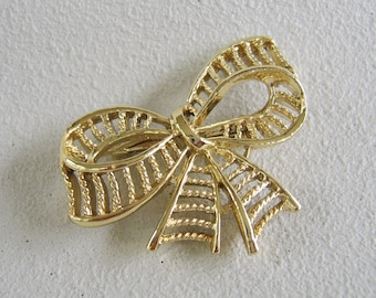 Vintage Gold Bow Brooch Lacey Ribbon Pin