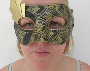 Art deco pattern 1920's great gatsby black gold mask with ribbon ties