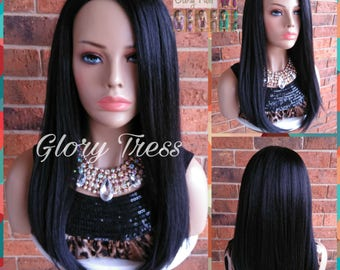 READY To SHIP // Yaki Straight Half Wig,   Natural Kinky Straight Wig, Black Wig, African American Wig // SECURITY