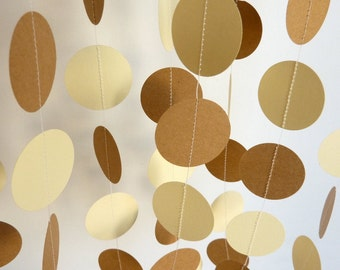 Ivory and Kraft Brown Circle Garland, Rustic Wedding Decor, Paper Party Decorations, Baby Shower, 10 ft. long