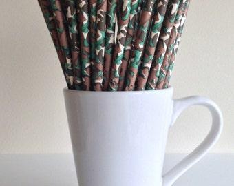 CLEARANCE Camouflage Paper Straws Camo Party Supplies Party Decor Bar Cart Cake Pop Sticks Mason Jar Straws Military Patriotic Graduation