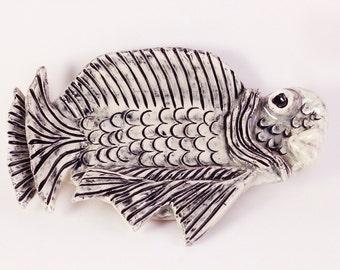 Black & White Ceramic Fossil Fish Dish / Butter Dish / Soap Dish / Sushi Dish, Wall Decor, with Wire Hanger
