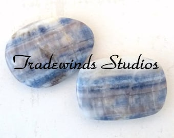 Pair of Small Lapis Lace Cabochons