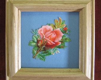 Romantic Gift Antique Rose Picture Cottage Garden Rose Real Victorian Scrap Die Cut Scrap Framed