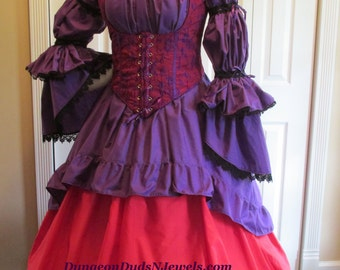 DDNJ Choose Fabric Burlesque Victorian Steampunk Style 3pc Plus Custom Made ANY Size Red Hatter Renaissance Pirate Vampire Costume LARP