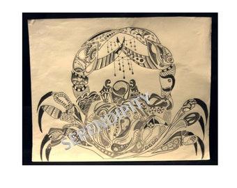 Grey and white mandala crab drawing.