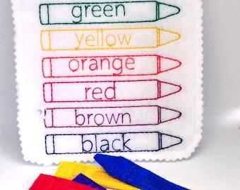 Felt quiet book - Toddler quiet book - Quiet book page - Toddler busy book - Busy book page - Felt busy book - Crayon match  #QB19