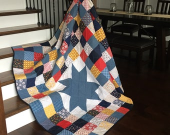 Homemade Quilts ~ Patchwork Quilt ~ Retro Quilt ~ Picnic Quilt ~ Gingham Girls Quilt ~ Ready to Ship