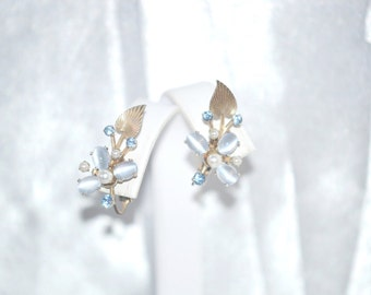 Chalcedony Rhinestones Vintage Flower Spray Clip Back Earrings