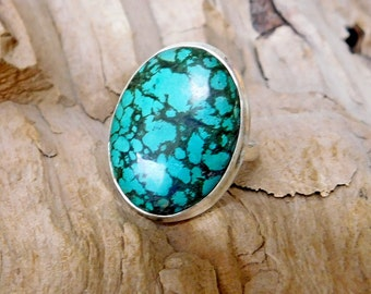 Turquoise in Sterling Silver Ring nice Matrix 20 x 25 mm RF014